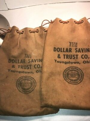 2 Canvas Bank Bags From The Dollar Saving And Trust Co Youngstown  Ohio