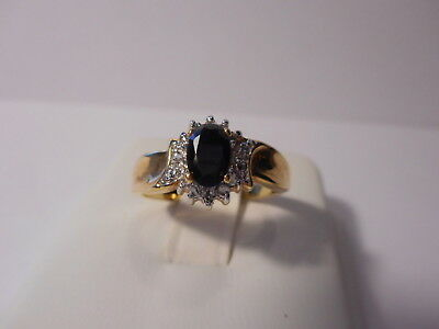Black Faceted Stone Rhinestone Accent Gold Tone Cocktail Ring Size 7