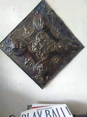 Antique Vintage Tin Ceiling Salvage Art Reclaimed Art Deco Tiles 2 feet x 2 feet