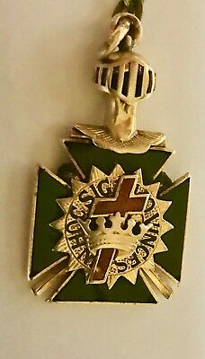 Antique -In Hoc Signo vinces 10/14K Gold Masonic passion cross - W/Ciain & Clip