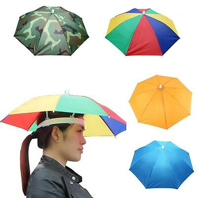 Umbrella Hat Sun Shade Camping Fishing Hiking Festivals Outdoor Brolly 4 Color