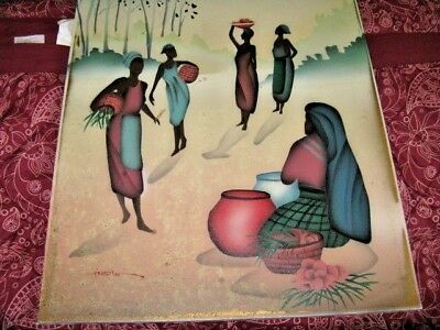 Original Oil Painting On Canvas  African Village Scene Signed - No Frame