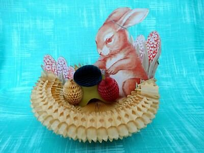 Vintage Easter Bunny Honeycomb Basket and Eggs