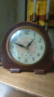 Fab Antique Art Deco Clock United Alarm Self Starting Alarm Mantle US For Repair