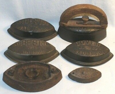6 VTG Old Fashion Cast Iron Clothes Iron, Dover, Asbestos, Other, See Pictures