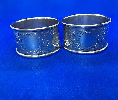 Lovely Pair Antique Solid Hallmark Silver Napkin Rings 1939 Israel Greenberg