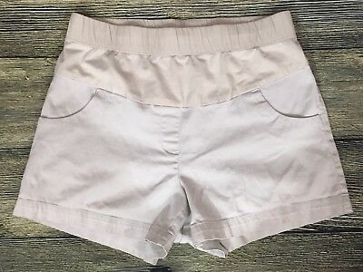 OH BABY By MOTHERHOOD Maternity Shorts Size Medium Beige Cotton Blend Low Panel