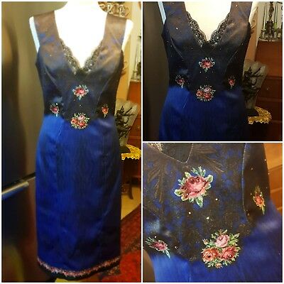 d5ae75d020 Michal Negrin Elegant Dress Decorated with Crystals   Lace -Sz.42 (M-L)