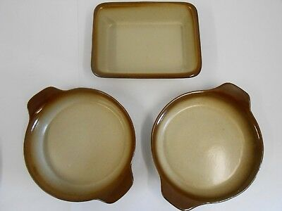 3 Pearsons of Chesterfield Stoneware Dishes - 2x Round, 1x Rectangle
