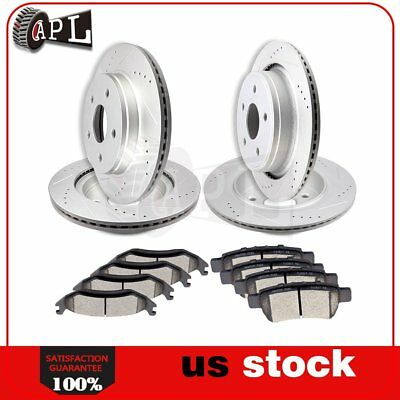 Front Rear Brake Rotors + Ceramic Pads For 2011 - 2013 2014 2015 2016 Ram 1500