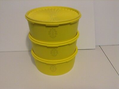 Tupperware Yellow Servalier Cookie Canisters - Set of 3 - Good Condition