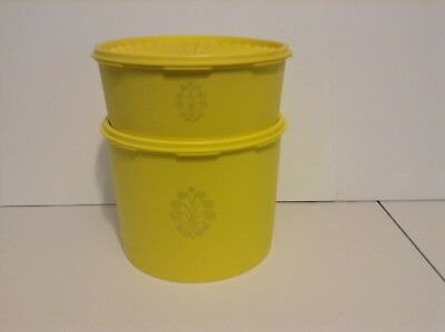 RARE Tupperware Yellow Servalier DOUBLE Size Cookie Canister & Single Canister