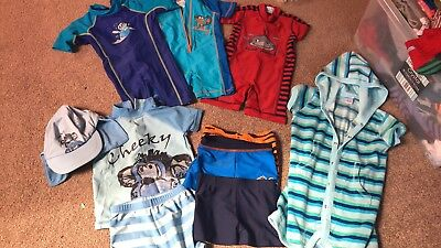 Boys bundle of 12-18month swimsuits/ trunks and towel robe (all NEXT and 1 zogg)