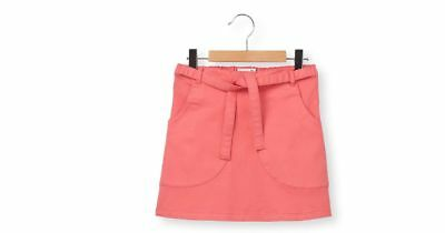 La Redoute Girls Kids Straight Skirt + Tie Belt Age 10 Years NEW Coral Pink
