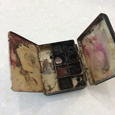 Antique Winsor & Newton Miniature Artist Paint Box Metal With Thumb Ring