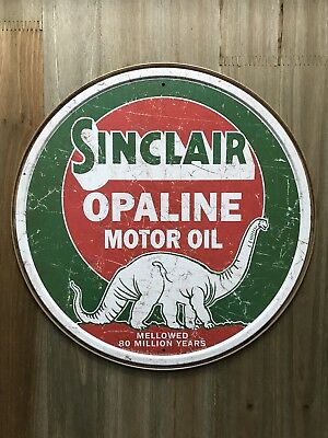 New Sinclair Opaline Motor Oil Round Tin Metal Sign NR!! Vintage NEW