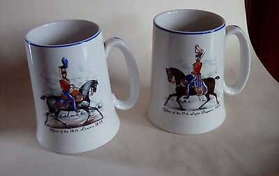 Two H J Wood Tankards Decorated With Transfer Prints Of 19Th Century Cavalrymen