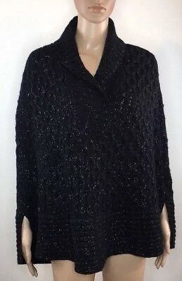 Armani Exchange A/X women Poncho Size Large Black With Silver Threads.