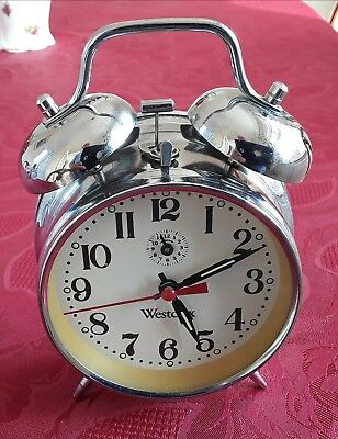 Westclox chrome metal wind-up alarm clock with bells