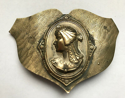 "Antique Egyptian Goddess Nekhbet  Brooch Royal Vulture Cap 28 grams 3"" x 2"""