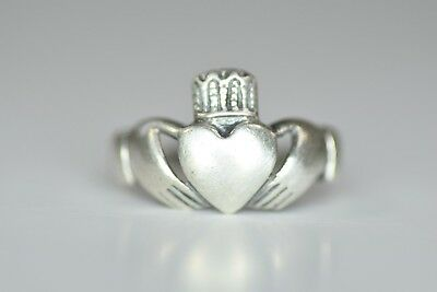 Antique 1950's CLADDAGH Solid STERLING SILVER Hand Made RING SIZE 7