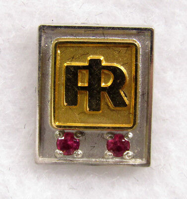 Ingersoll Rand Service Pin - (two red stones - gold filled)