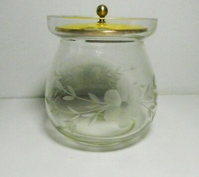 ETCHED GLASS JAM JAR /MUSTARD POT w/ Guilloche Enamel Lid-Kirk & Son-F. Whiting