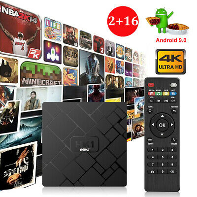 2019 2+16G Android 9.0 Pie Quad Core Smart TV BOX WIFI 4K 3D H.265 Media Network