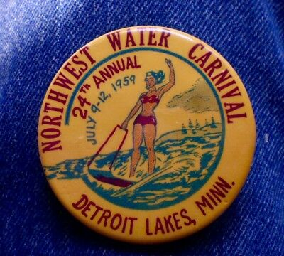 """1959 24th Annual Northwest Water Carnival Detroit Lakes, Mn. 2 1/4"""" Cello"""