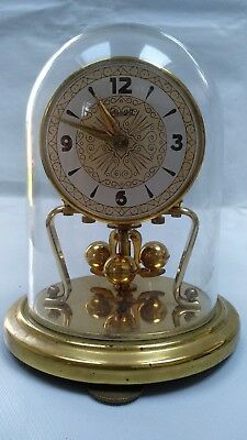 Koma Prescott Anniversary Clock 400 Day Wind Up Clock Glass Dome Vintage Antique