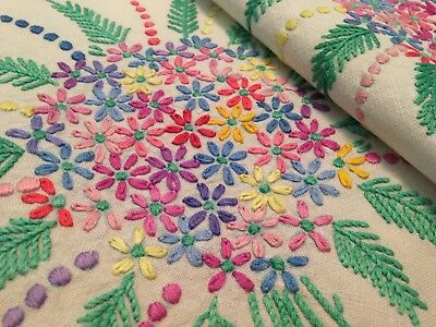Vintage Hand Embroidered Linen Table Cloth – Gorgeous Floral Sprays