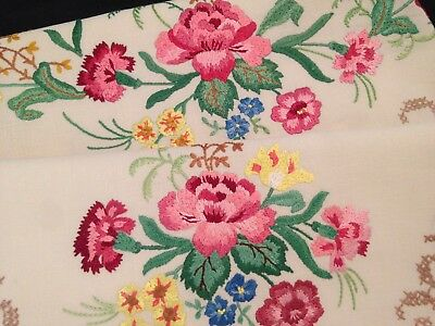 Lovely Vintage Hand Embroidered Sofa And Chair Back ~ Beautiful Flowers