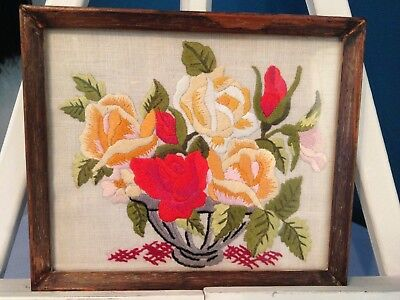 Vintage Hand Embroidered Miniature Picture – Stunning Rose Bowl