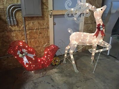Large Lighted Christmas Winter Deer & Red Sleigh Outdoor Yard Decoration