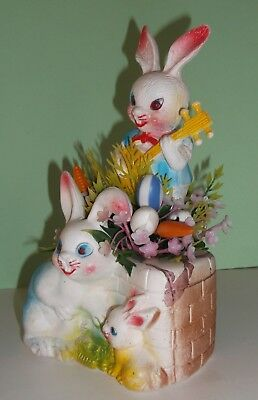 Vintage Plastic Easter Bunnies Family Centerpiece