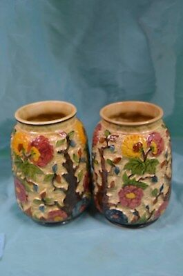 """A Gorgeous Pair Of H.j. Wood Hand Painted """"indian Tree"""" Staffordshire Vases"""