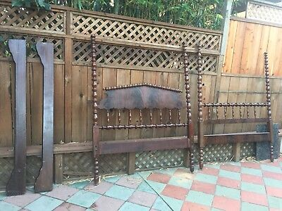 antique mahogany four poster spindle bed full double