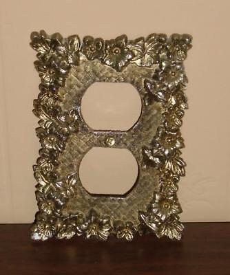 Vtg Mid Century Gold & Brass Metal Floral Motif Outlet Cover Plate Used