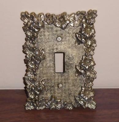 Vtg Mid Century Gold & Brass Metal Light Switch Plate Cover Floral Motif Used