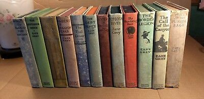 Lot of 12 Vintage Antique Zane Grey Books Western  HB 1909 to 1944