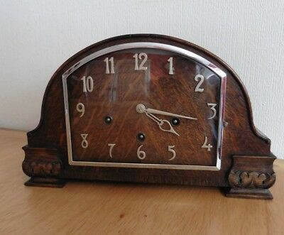 ANTIQUE 1930s OAK CASED ART DECO WHITTINGTON + WESTMINSTER CHIME MANTLE CLOCK