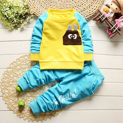 2pcs baby boys tracksuit pullover top+ pants Kids boy clothes outfits & set