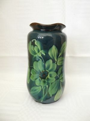 Antique Torquay Ware Dark Green Vase, Embossed With Flowers