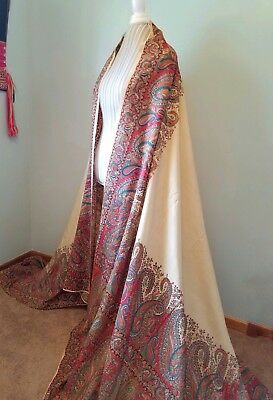 """Antique Wool/RAW SILK Hand Loomed Kashmir Paisley Shawl 62"""" X 116"""" HAND MENDED"""