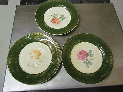 "3 Ovington's Fifth Avenue U.G. Forest Green American Beauty Rose 5-7/8"" Saucers"