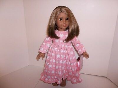 "Pink Bunny Nightgown and Ribbo made for 18"" American Girl Doll Clothes New"