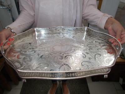 Superb  Vintage Silver Plated Serpentine Tray Ball & Claw Feet Lovely Dondition