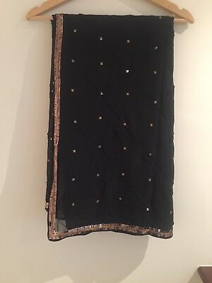 Indian Saree With Ready Made Blouse - Black