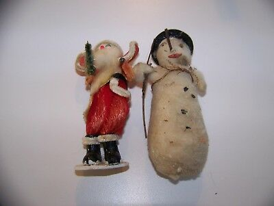 Two Antique Christmas Tree Ornaments  Santa With Tree And Cotton Smoker Snowman