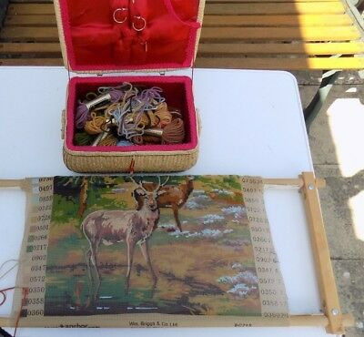 Red Deer Cross Stitch Embroidery Tapestry Wooden Frame Craft Project Wool Box